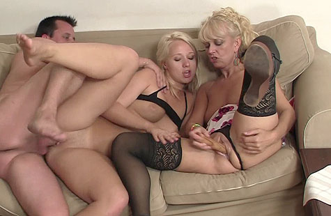 Naughty threesome with son's GF
