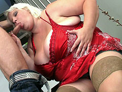 Horny BBW on top of his cock
