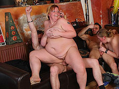 Fat slut fucked and takes load on tits