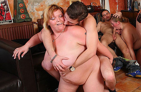 Horny fatty fucked by eager guys