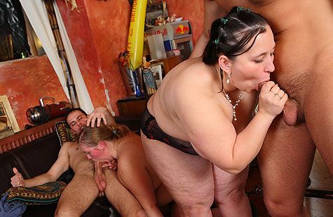 Hot fat sluts fucked in a sensual orgy