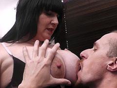 Fattie chokes on hard dick
