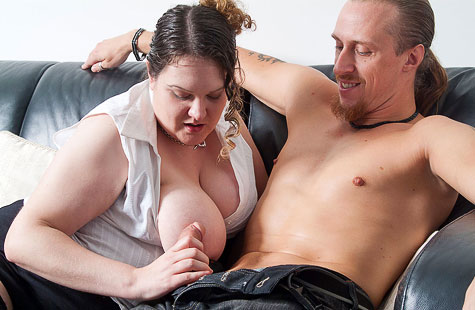 Busty BBW bangs husband