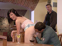 Trophy wife cuckolds at housewarming