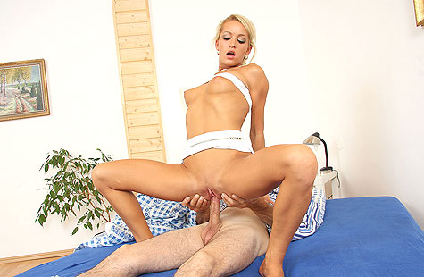 Young blonde rides old cock