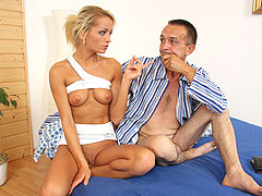 Hot blonde cheats with bfs dad