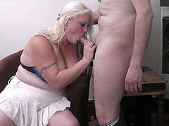 Busty plumper nails a guy