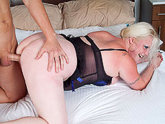 BBW blonde seduces a gardener