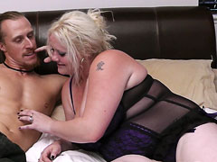 BBW blonde nails a random guy